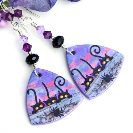 Black cats and spider polymer clay earrings