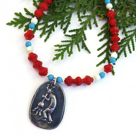 Kokopelli necklace, Southwest design.