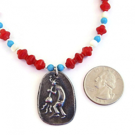 Kokopelli necklace for women.