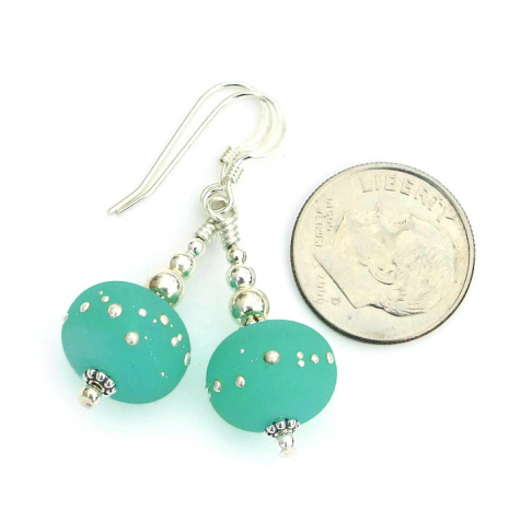 One of a kind mint green kryptonite handmade earrings.
