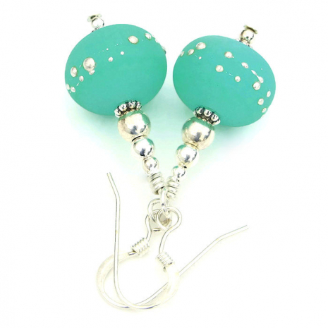Artisan mint green handmade earrings.