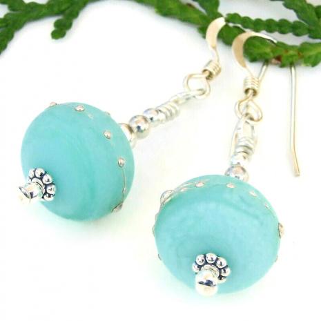 kryptonite green lampwork glass bead jewelry gift for women