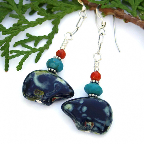 Black bear earrings for women