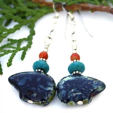 Zuni bear earrings, jewelry gift idea for women