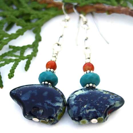 Zuni bear earrings, jewelry gift idea for women