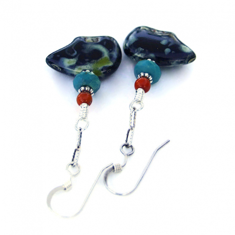Fetish black bear bead earrings with turquoise and red coral.