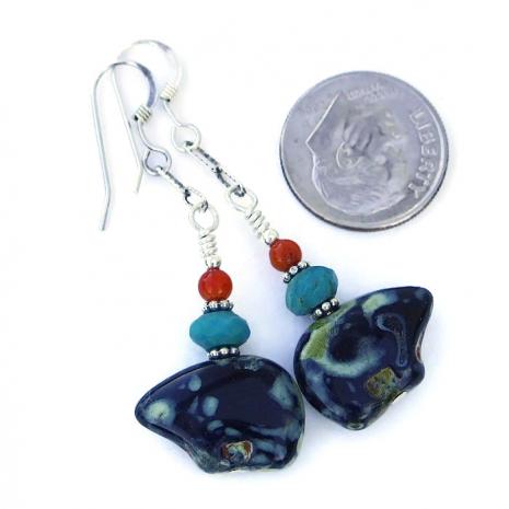 Southwest Zuni bear earrings for women.