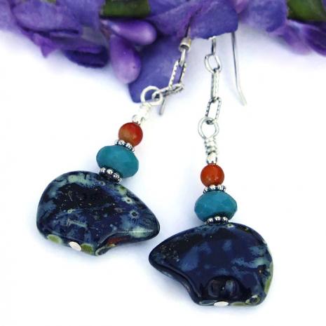 southwest black bear earrings.