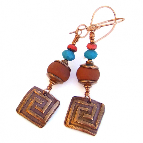 Artisan handmade copper and lampwork earrings with turquoise and red Czech glass
