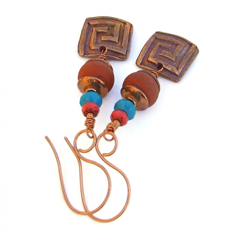 One of a kind copper labyrinth, lampwork glass bead and turquoise earrings.