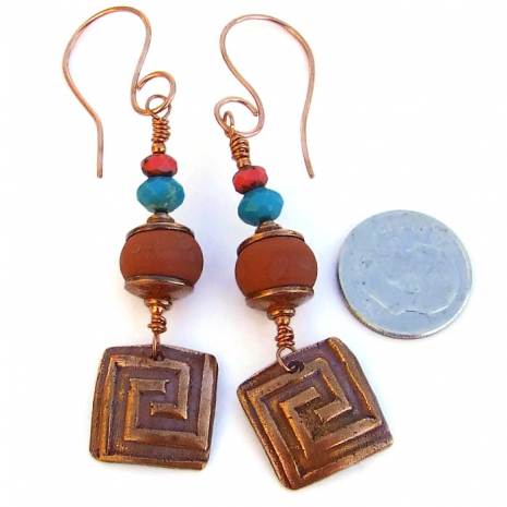 "The unique ""Labyrinth"" handmade earrings have an ancient Southwest feel."