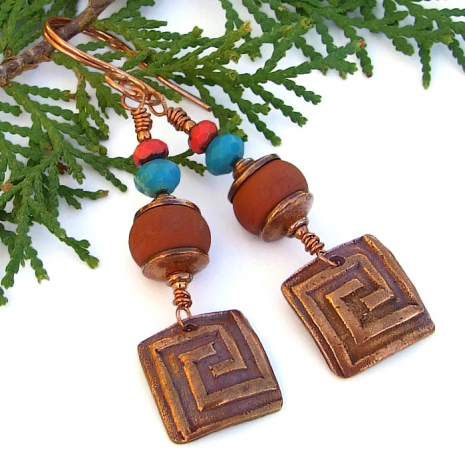 Unique copper labyrinth and terracotta lampwork glass earrings.