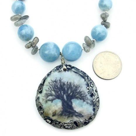 Tree of Life pendant and gemstone handmade necklace.