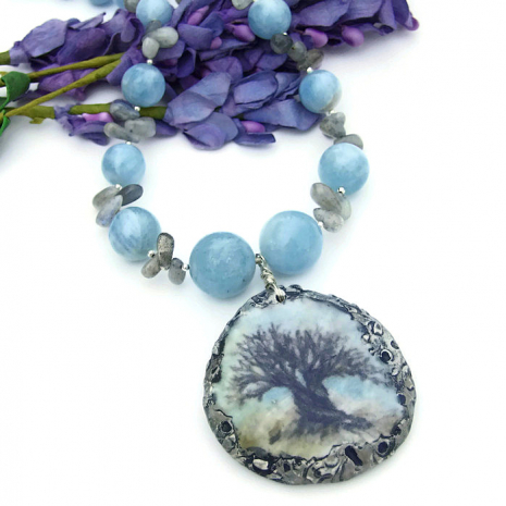 Tree of Life necklace with aquamarine and labradorite gemstones.