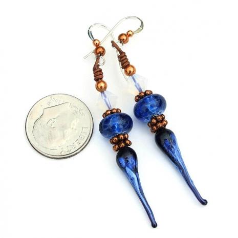 blue lampwork jewelry for women