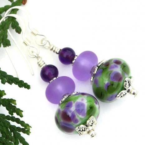 lampwork glass and amethyst gemstone handmade earrings