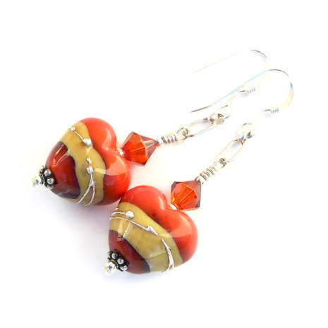 lampwork glass hearts jewelry