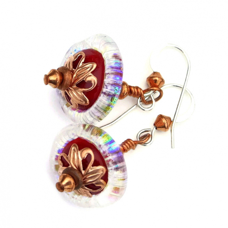 rainbow and red lampwork earrings handmade gift