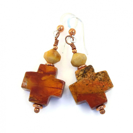 Red creek jasper cross earrings.