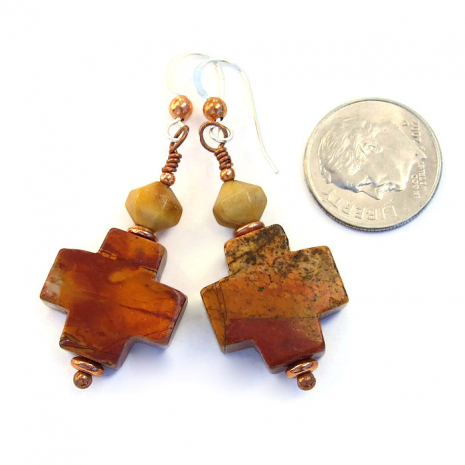 Red creek jasper crosses dangle earrings.