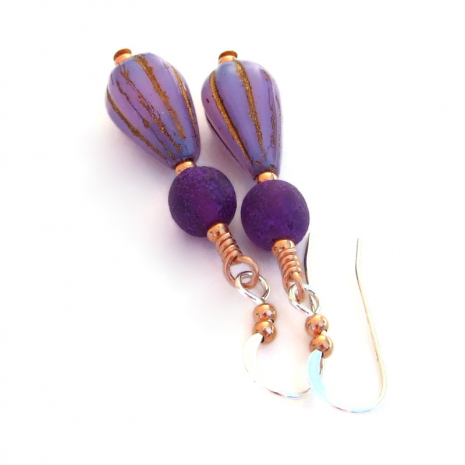 lavender and dark purple teardrop jewelry gift for her