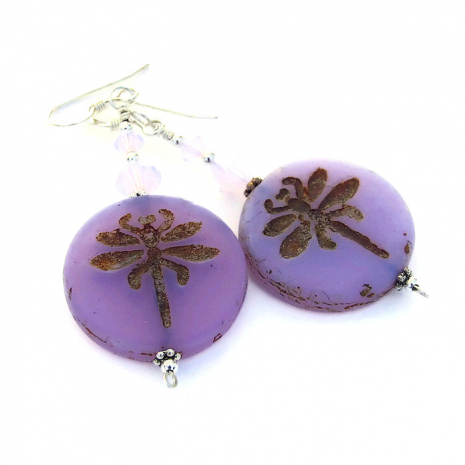 lavender dragonfly jewelry with swarovski crystals
