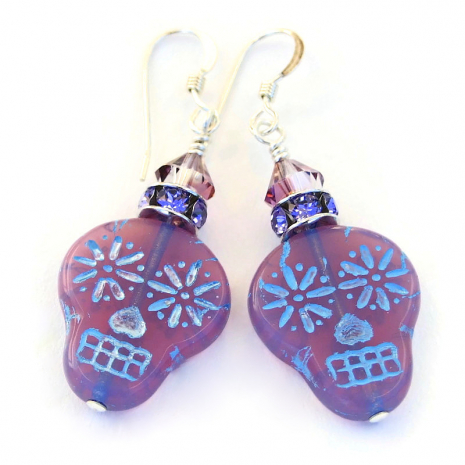 lavender pink opaline sugar skull earrings gift for women