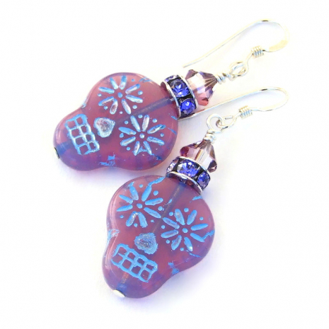 lavender pink opaline sugar skull jewelry gift for women
