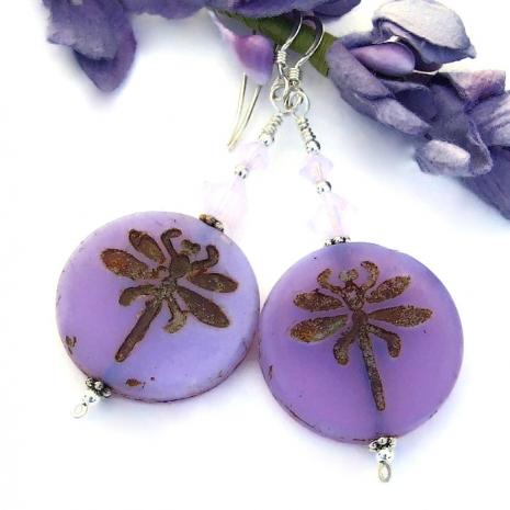 lavender purple dragonfly earrings
