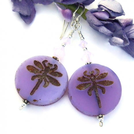 lavender purple dragonfly earrings