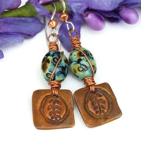 Artisan made, fall inspired copper leaf and mossy green Czech glass earrings.