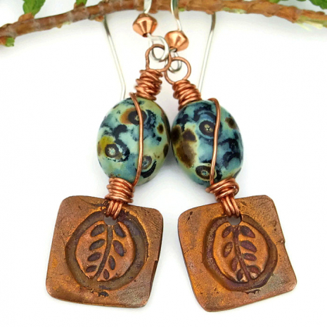 Perfect one of a kind leaf charm and mossy Czech glass autumn earrings.