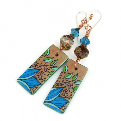 Polymer clay leaf earrings.