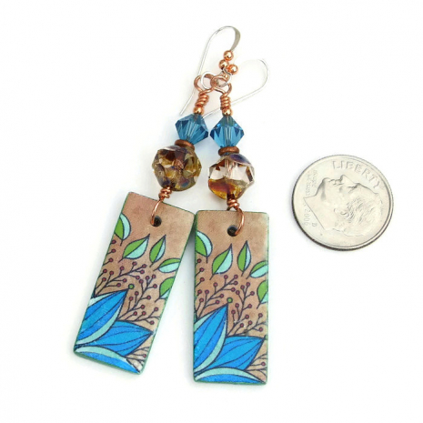 Polymer clay leaf design earrings.