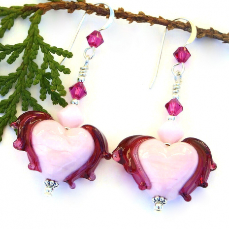 light pink fuchsia winged hearts earrings valentines gift