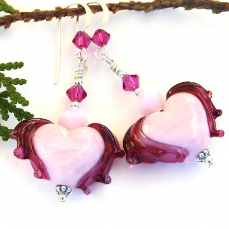light pink fuchsia winged hearts jewelry valentines gift