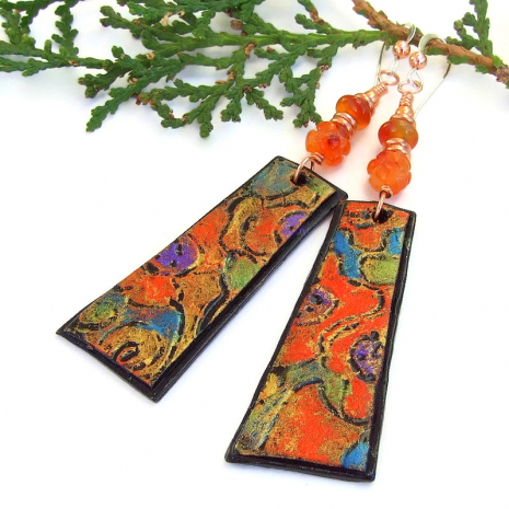 lightweight abstract art handmade earrings with carnelian gemstones