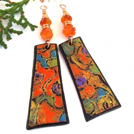 lightweight abstract art handmade jewelry with carnelian gemstones
