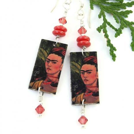 fridha kahlo with monkey dangle jewelry