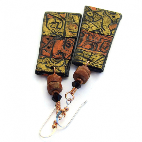 lightweight handmade dangle jewelry with polymer clay