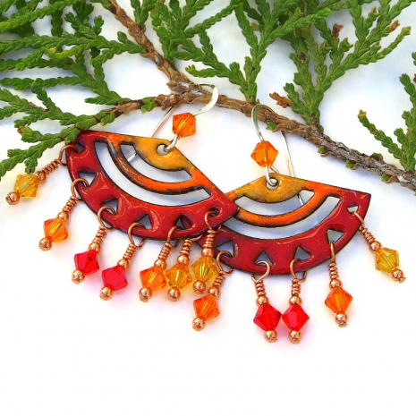 lightweight red orange yellow chandelier jewelry with swarovski crystals