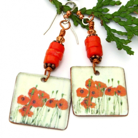 lightweight red poppy flower dangle earrings with red coral