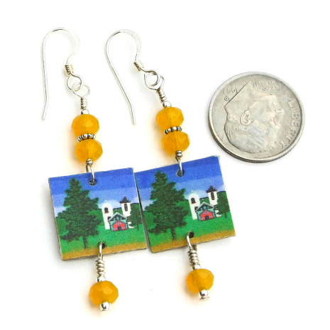 handmade southwest church and trees earrings with yellow czech glass