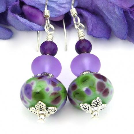 lilac purple green white lampwork glass earrings