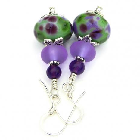 lilac purple green white lampwork glass jewelry