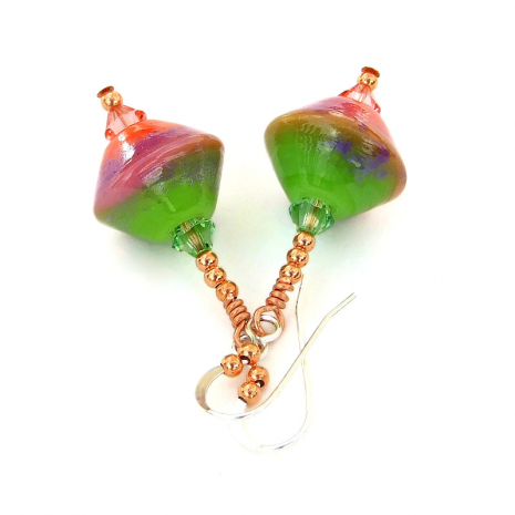 lime green lavender and peach pink lampwork earrings gift for her
