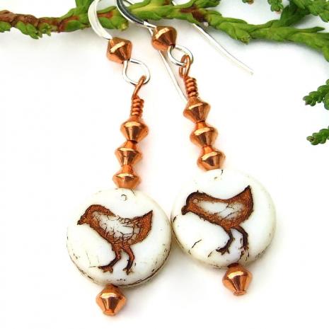 little bird earrings czech glass copper