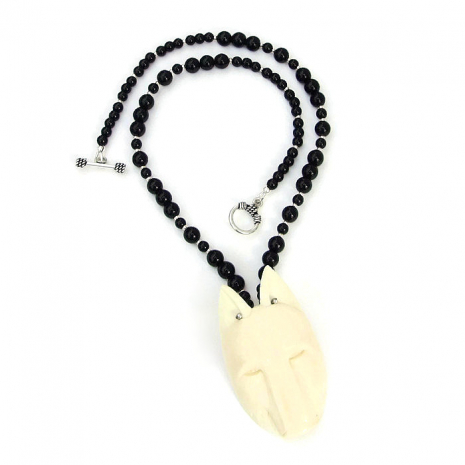 Wolf totem necklace gift idea for her.