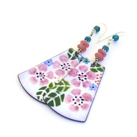 long pink flower dangles earrings