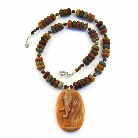 Elephant necklace with gemstones.